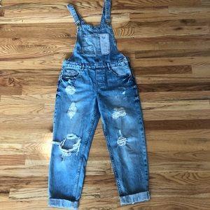 Zara Trafaluc denim distressed overalls
